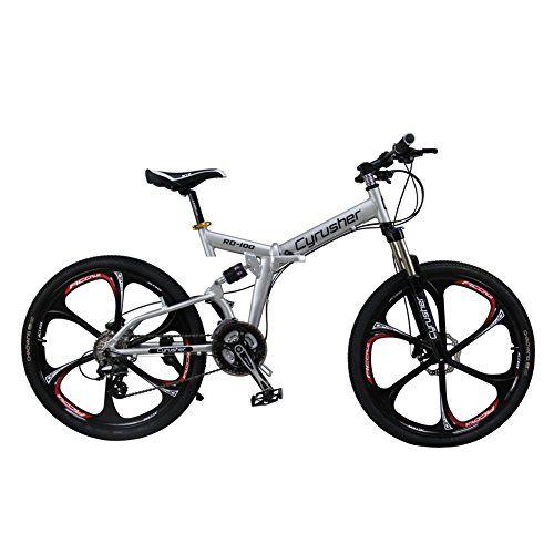 Cyrusher® New Updated RD100 Mans Mountain Bike Folding Frame Bike Dual Suspension Mens bike Silver Shimano M310 ALTUS 24 Speeds 17in * 26 in Aluminum Frame Full Suspenion MTB Bicycle Disc Brakes