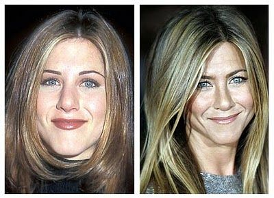 "jennifer aniston before and after nose job, Jenn is a cutie with a nice figure, I love her but sometimes when her hair is pulled back off her face her cheeks and chin reminds me of ""SCREAM"" that's why her hair is always down around her cheeks."