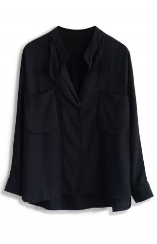 Neutral Batwing Crepe Shirt in Black - sale - Retro, Indie and Unique Fashion