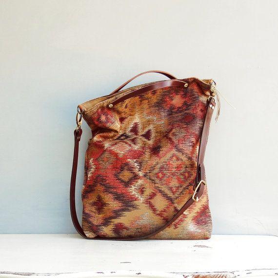 Metallic Aztec Tote Bag - Southwest Cross Body Purse - Rustic Messenger Bag - Custom Length Leather Strap - Rust Orange Copper 3