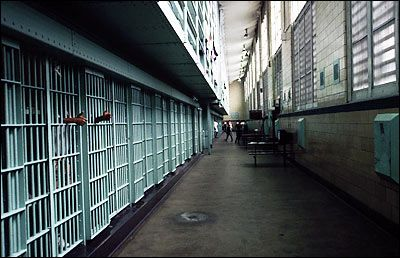 Riker's Island cell block - note the institutional blue color scheme.