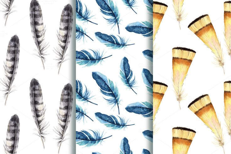 Watercolor feathers by Olga Ponomarchuk on @creativemarket