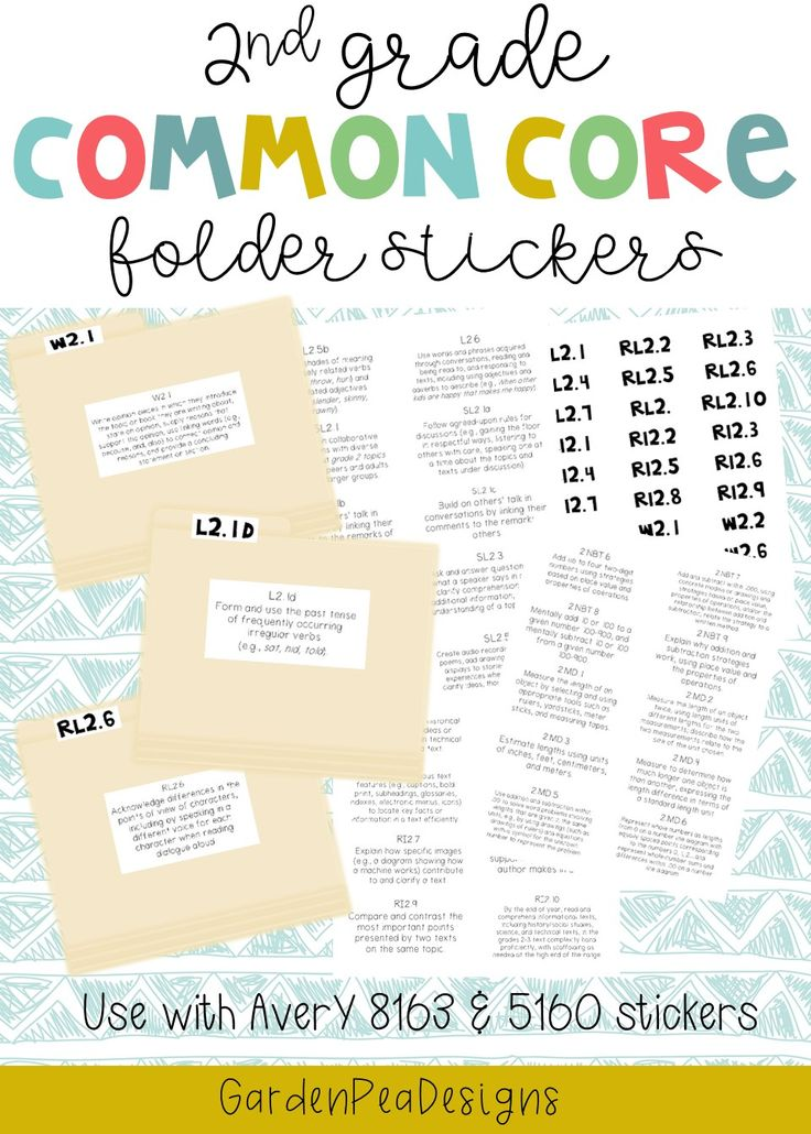 $3.00 2nd Grade Common Core ELA & Math Stickers for Folders. Get organized for the whole year!