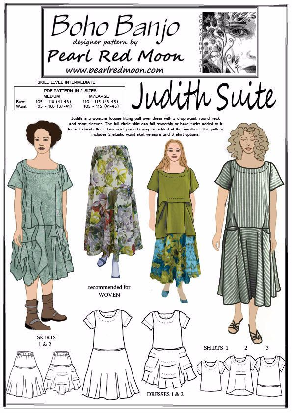 Judith Suite pdf sewing pattern, 2 MEDIUM SIZES – Boho Banjo art to wear