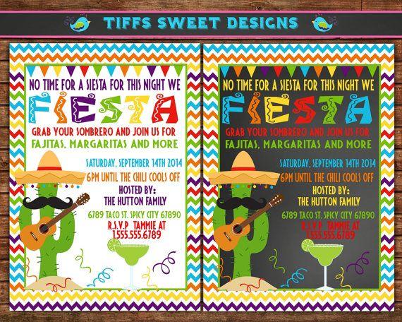 Fiesta Invitation - Mexican Party Invitation - Custom Printable - Chevron on Etsy, $10.50