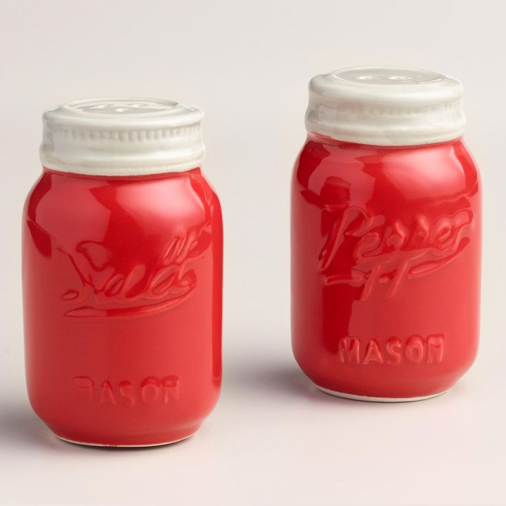 A great gift for collectors, our red mason jar salt and pepper shaker adds a vintage-inspired look the to the tabletop. >> #WorldMarket Kitchen Accessories, Mason Jars