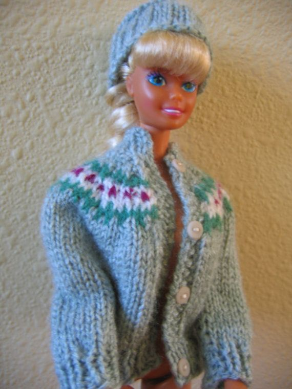 Hand Knit Barbie Doll Clothes Pattern Yoke Sweater fits 11 1/2 inch fashion d...