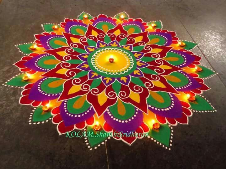 13 best beautiful rangoli designs images on pinterest for Floor rangoli design