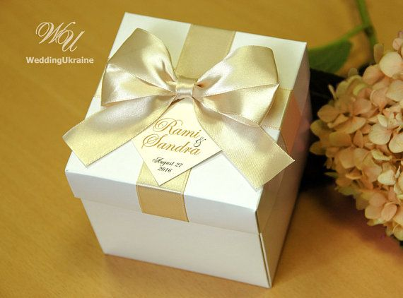 Champagne Wedding Gifts Boxes With Satin Ribbon By Weddingukraine