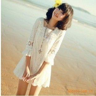 Vestido de la princesa dulce juniors ropa de verano moda de manga tres cuartos de encaje blanco de una sola pieza del vestido delgado del verano en Vestidos de Moda y Complementos Mujer en AliExpress.com | Alibaba Group