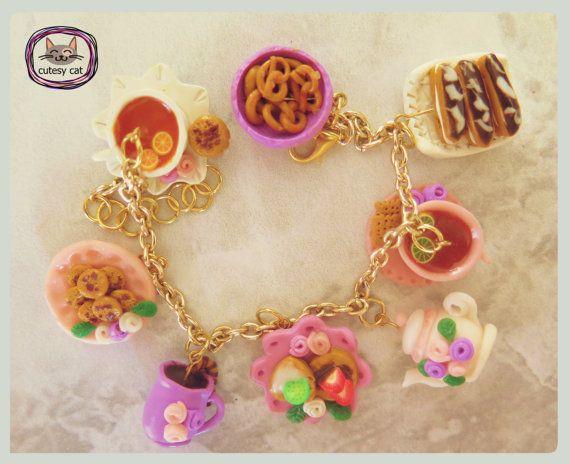 Tea Part Bracelet-Hand Made Polymer Clay Tea Party Bracelet, Polymer Clay Food Jewelry