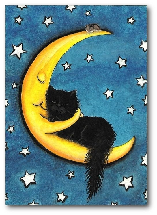 Sweetest of Dreams Moon Hugging Black Cat   5x7 by AmyLynBihrle. , via Etsy.