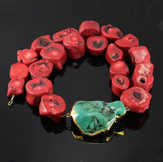 Corals and Turquoise gemstone gold dipped necklace by minakaja, $69.90