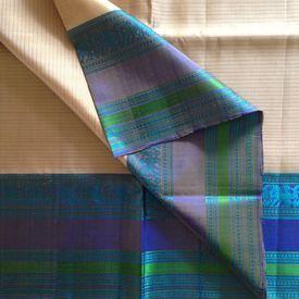 KSS210010-THAMBOORI s threadwoven Kanchivaram Silk-Beige blue lavender beauty!, 750 g