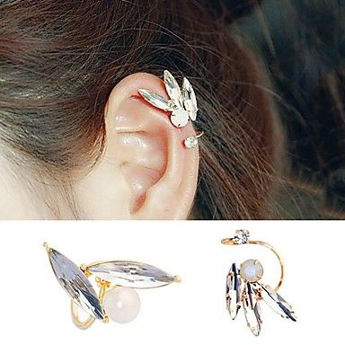 EUR € 3.95 - Korea stílus divat kristály berakásos klip fülbevaló (1 db), minden szerkentyű ingyenes szállítása!