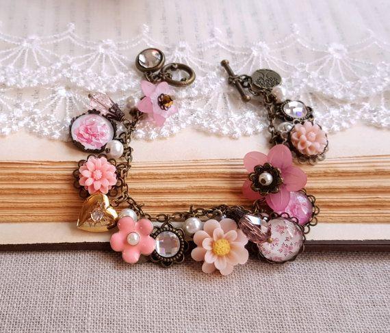 Tuin armband roze bloem armband Crystal heart door FlosJewelryBox