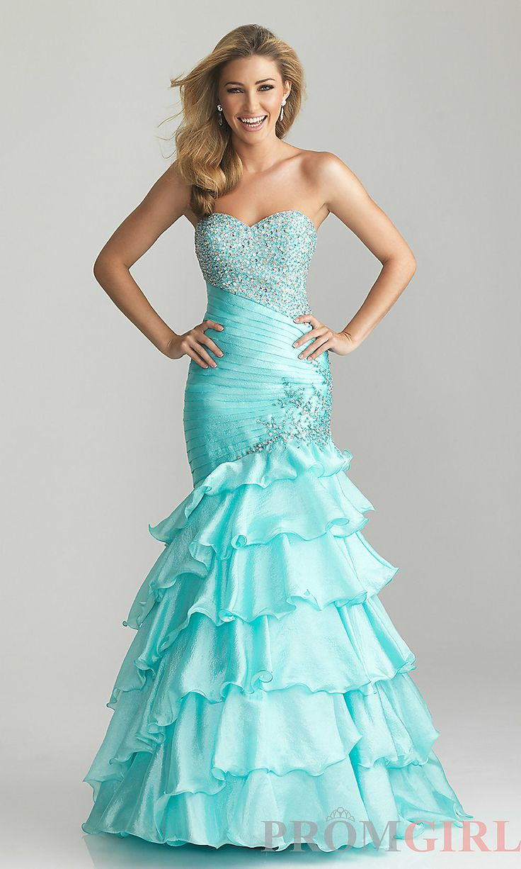 Tiffany Blue Strapless Mermaid Prom Dresses | Dress images
