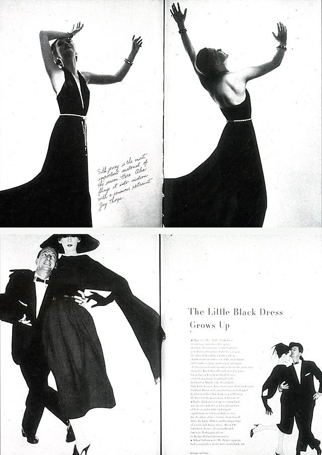 (top) Spread from the 1936 issue of Bazaar, pages 82-83. Photographer Hoyningen-Huene. Copyright © 1936. The Hearst Corporation; (bottom) Spread from the February 1957 issue of Bazaar, pages 92-93. Copyright © 1957. The Hearst Corporation.