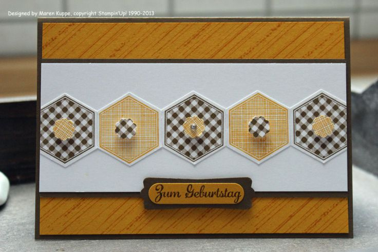handmade card ,,, band of stamped and punched hexagons in alternating papers ... yellow and black and white ... like the formal look ... Stampin' Up!