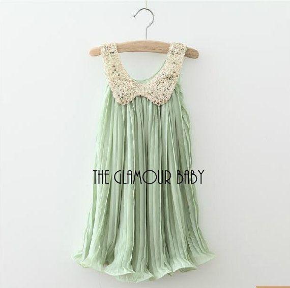 Mint chiffon flowergirl tutu dress beaded collar by shereendean, $48.00