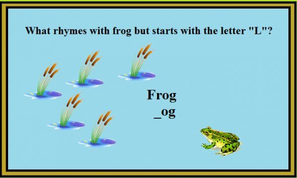 Frog Bulletin Board - What rhymes with frog and log?