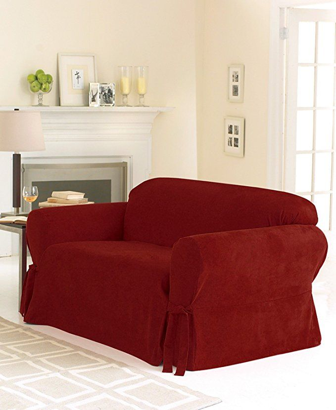 Sure Fit Soft Suede 1 Piece Loveseat Slipcover Burgundy Sf26185 Review Suede Sofa Loveseat Slipcovers Cushions On Sofa