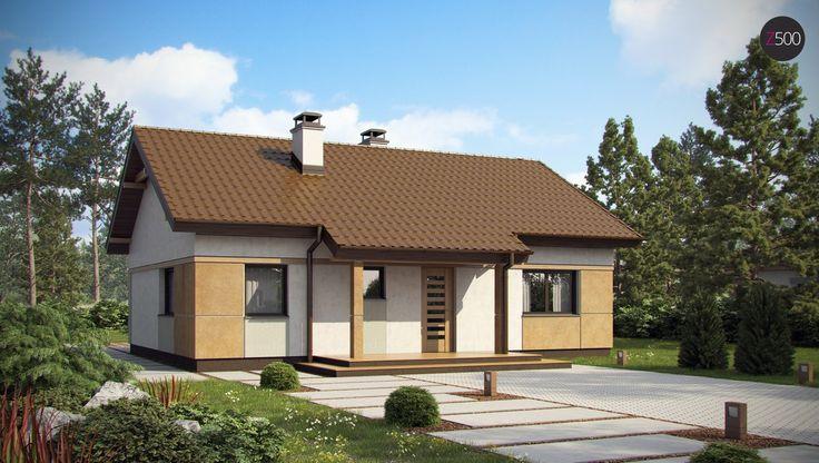 Проект небольшого аккуратного одноэтажного коттеджа с двускатной крышей