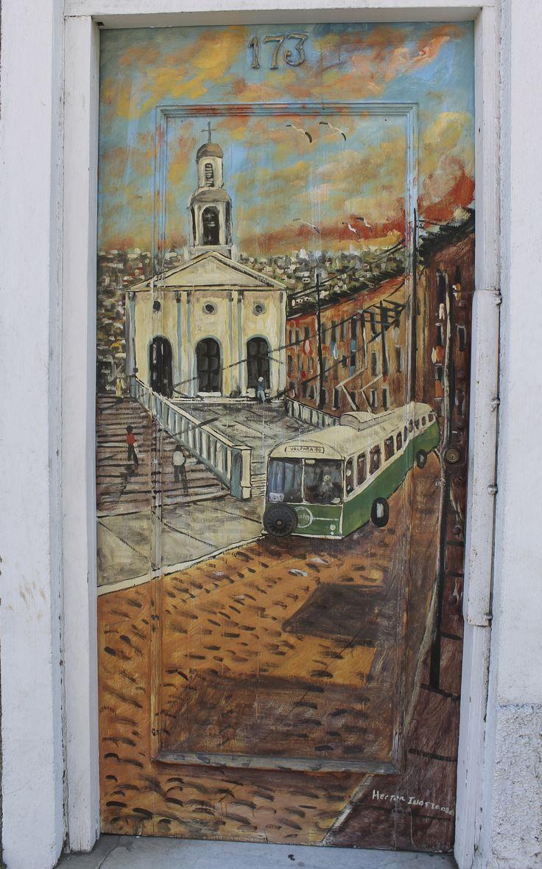 Door with street scene - Valparaiso, Chile