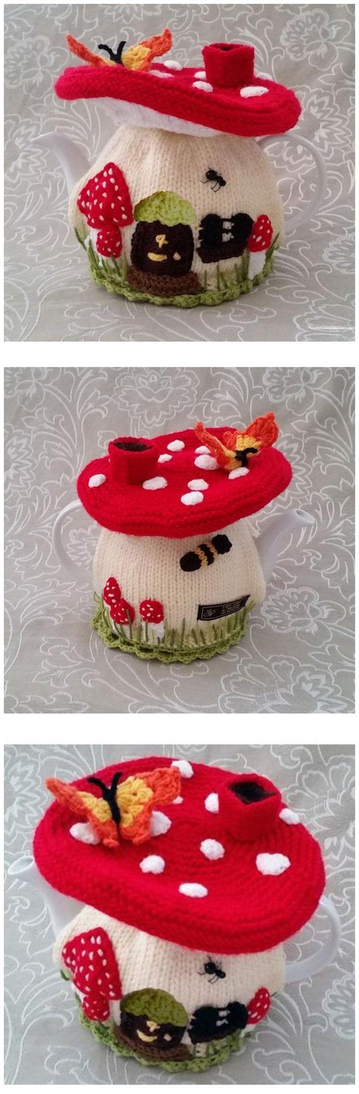Fairy Mushroom House Tea Cosy Knitting Pattern