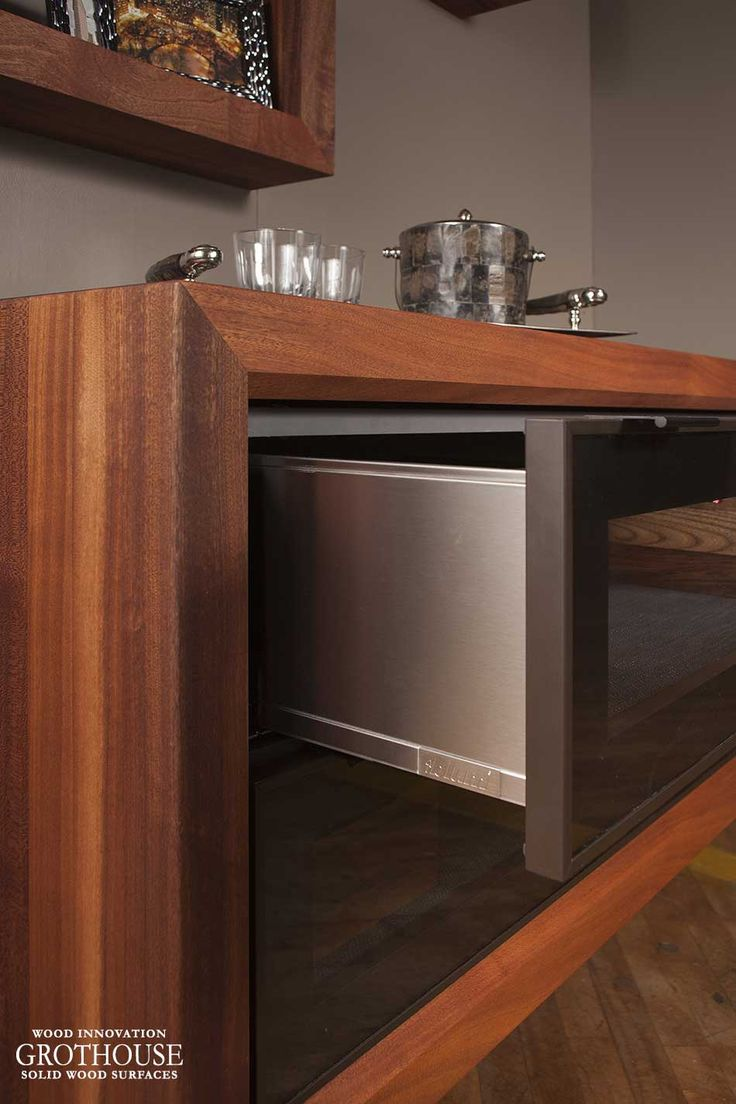 Large maple with wenge butcher block countertop in pennsylvania - Custom Sapele Mahogany Wood Shadow Boxes And Cabinet Surround Box For A Coffee Station Display Design By Signature Custom Cabinetry In Ephrata Pennsylvania