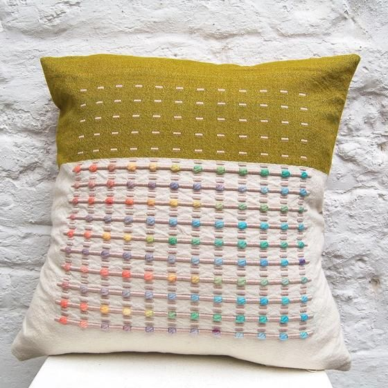 Green Smartie Cushion handwoven cushion by Zoe Acketts, available to buy online or at Golden Hare Gallery in Ampthill, Bedfordshire