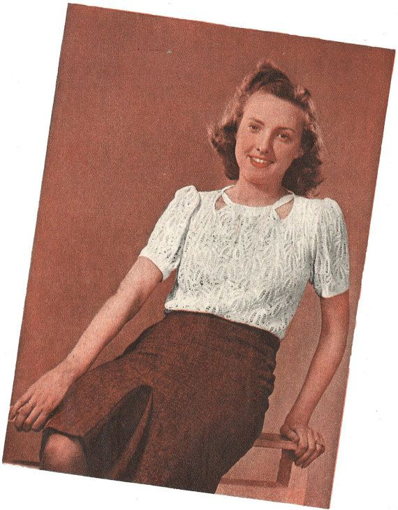 1940s Knitting Pattern for Womens Lace Jumper / Blouse - 38 in 96 cm bust - Digital PDF