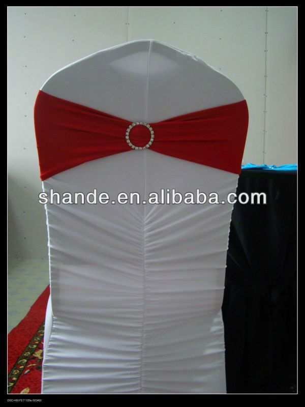 Top quality blood red spandex chair cover band with diamond buckle for wedding chair cover /spandex chair sash