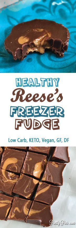 This melt-in-your-mouth, LOW CARB Freezer Fudge has all the deliciousness of a Reese's peanut butter cup, but none of the sugar or junk. Just 6 real-food ingredients that come together in a snap. #lowcarb #keto #vegan Free from gluten, grains, dairy, sugar, soy and eggs. - PrettyPies.com