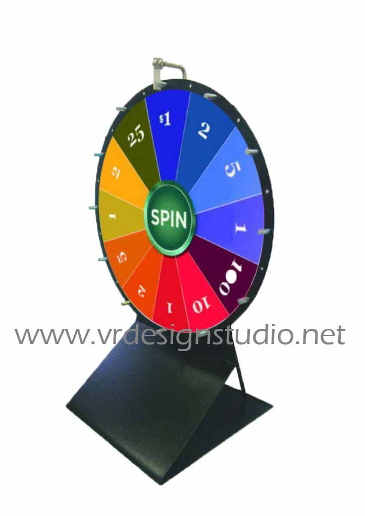 Wheel of fortune: easily transportable and easy storage. Blank prize slots allow for completely custom displays. Simple setup for great exhibits & parties. Available in 3 different sizes.