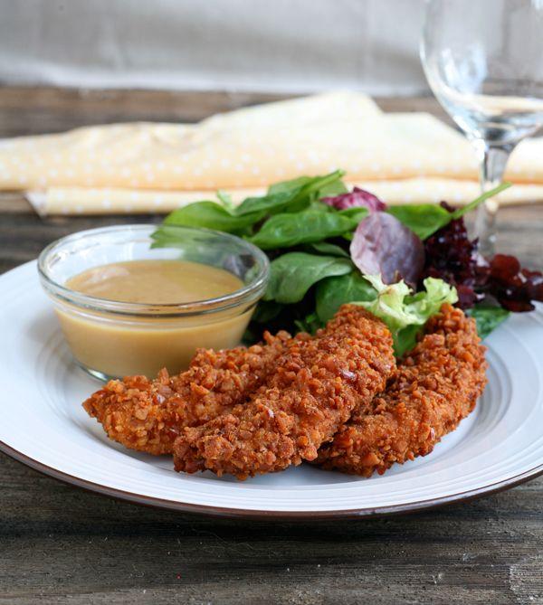 Fried Pretzel Chicken with Honey Dijon Sauce
