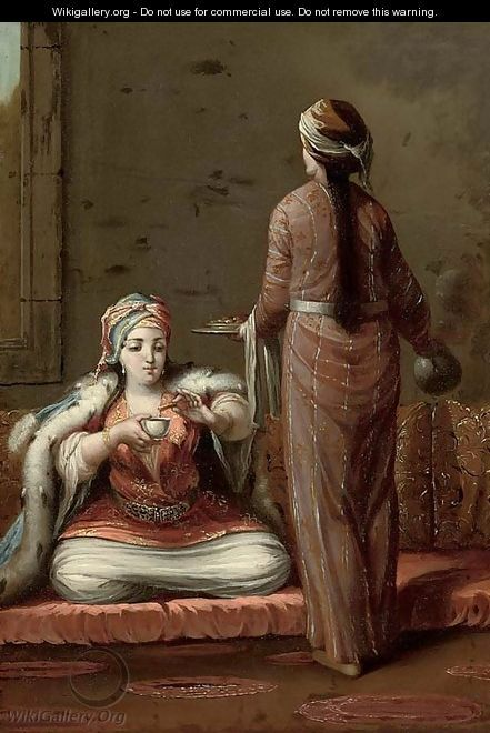 A Turkish lady seated on a cushion, being served coffee by a maid servant - (after) Jean Baptiste Vanmour