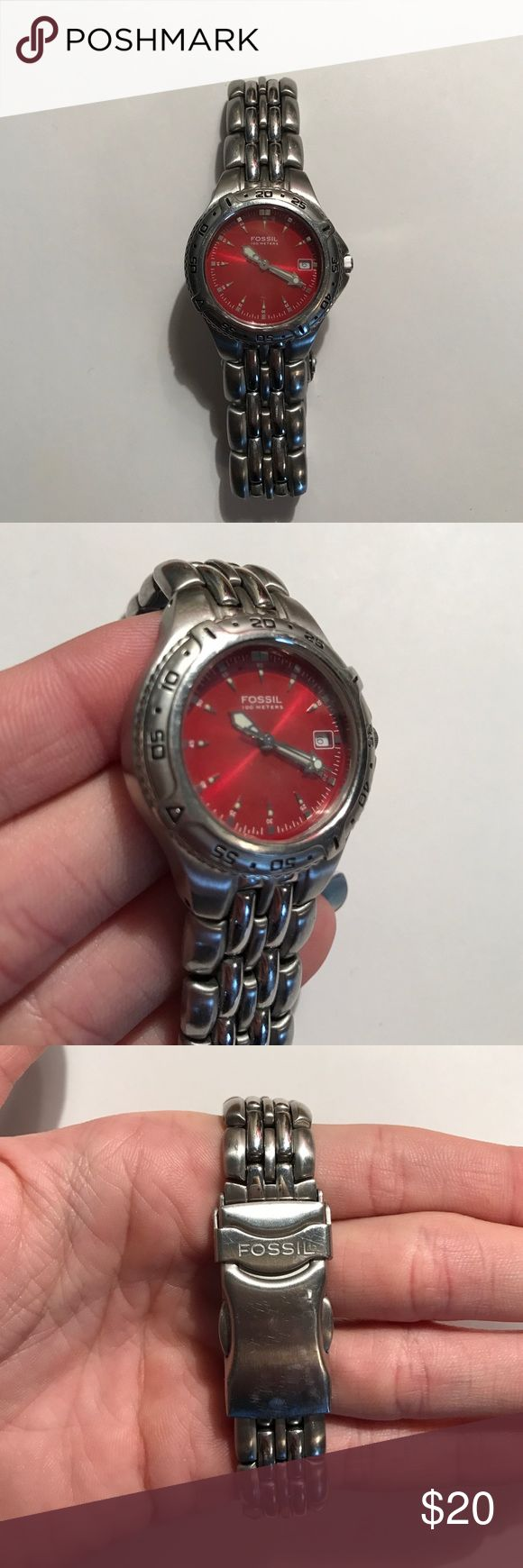 Fossil watch Red faced Fossil watch. Battery is dead. Has been worn with love, crystal has a blemish. Fossil Accessories Watches