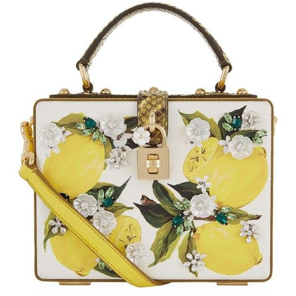Dolce & Gabbana Painted Lemon Padlock Box Bag ($3,085) ❤ liked on Polyvore featuring bags, lemon bag, decorating bags, dolce gabbana bag, white bags and flower bag