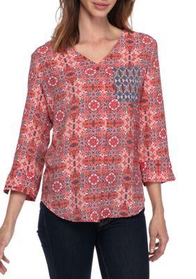 Kim Rogers Women's 3/4 Twin-Print With Pocket Button Shirt - Raspberry Combo - Xl