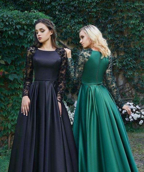 Kleid Fur Mutter Der Braut Wunderschone Satin Kleid Langarm Kleid Abendkleid A Linie Abendkleid Kleid Fur Mu Abendkleid Langarm Kleid Langarmelige Kleider