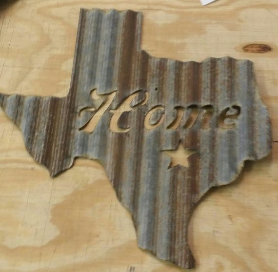 FREE SHIPPING Up Cycled Old Corrugated Metal By RockinBTradingCo $39.00  Texas Metal Sign Home Sign