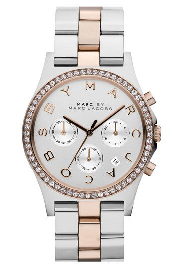 MARC BY MARC JACOBS 'Henry' Chronograph & Crystal Topring Watch Silver/ Rose