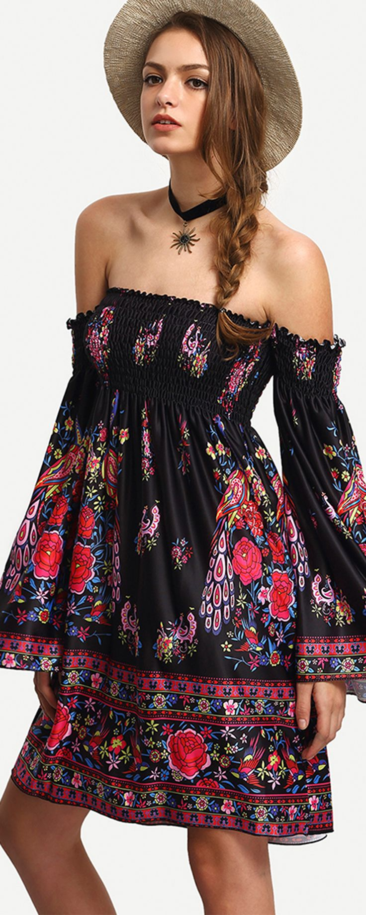 So down for you in this dress-Only $15.99! Looking and feeling your best never comes so easily,that is Down For You Off-The-Shoulder Flare Sleeve Shirred Dress. Get more surprised ones at Romwe.com