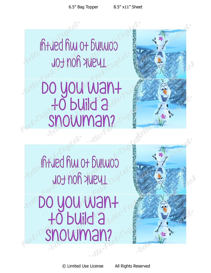 It is a graphic of Dynamite Frozen Party Bag Labels