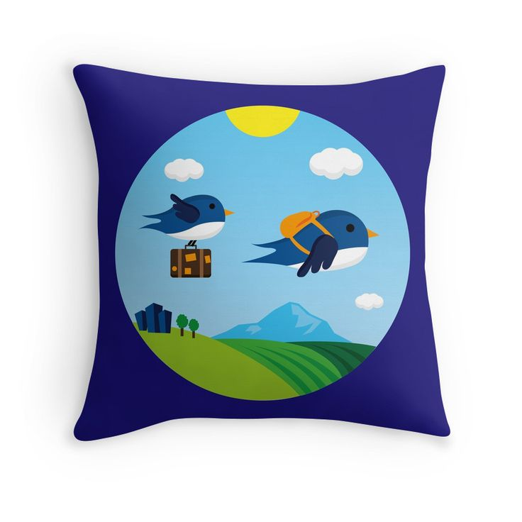 """""""Swallows go to Africa"""" Throw Pillows by fishdesigns 