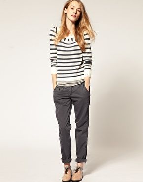 striped top and denim chino pants in grey