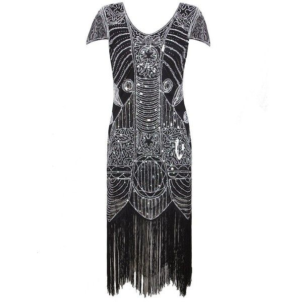 Vijiv 1920s Gatsby Flapper Dresses With Sleeves Sequin Art Deco... ($42) ❤ liked on Polyvore featuring dresses, white flapper dress, 20s dress, sequin cocktail dresses, white sequin cocktail dress and roaring 20s dress