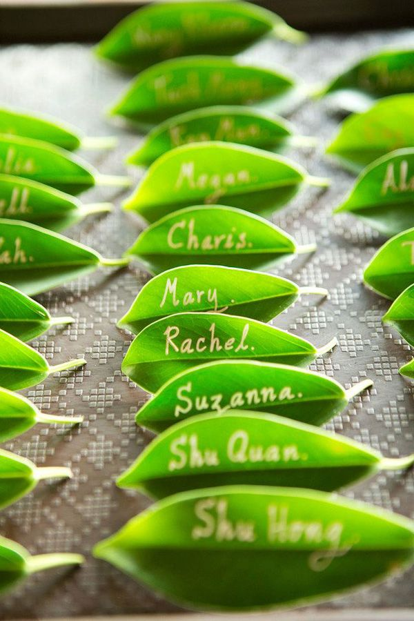Leaves as an eco-friendly alternative to escort cards! Photo by 39 East Images
