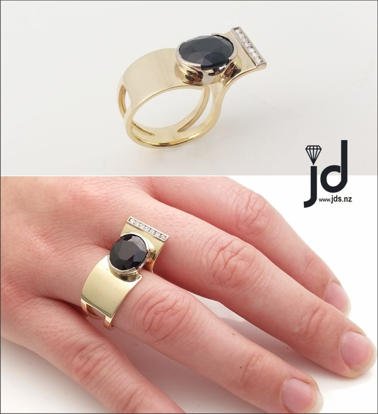 Black Sapphire Ring   Yellow Gold   Unique Design   Comfort Fit   Diamonds   www.jds.nz